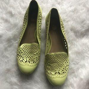 Dolce Vita neon green yellow laser cut flats shoes